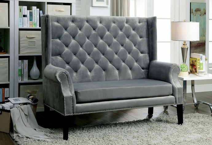 Furniture Of America Shayla Gray Flannelette Finish Loveseat Bench