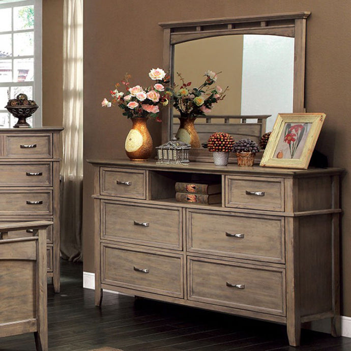 Loxley CM7351D Transitional Weathered Oak Dresser and Mirror Set