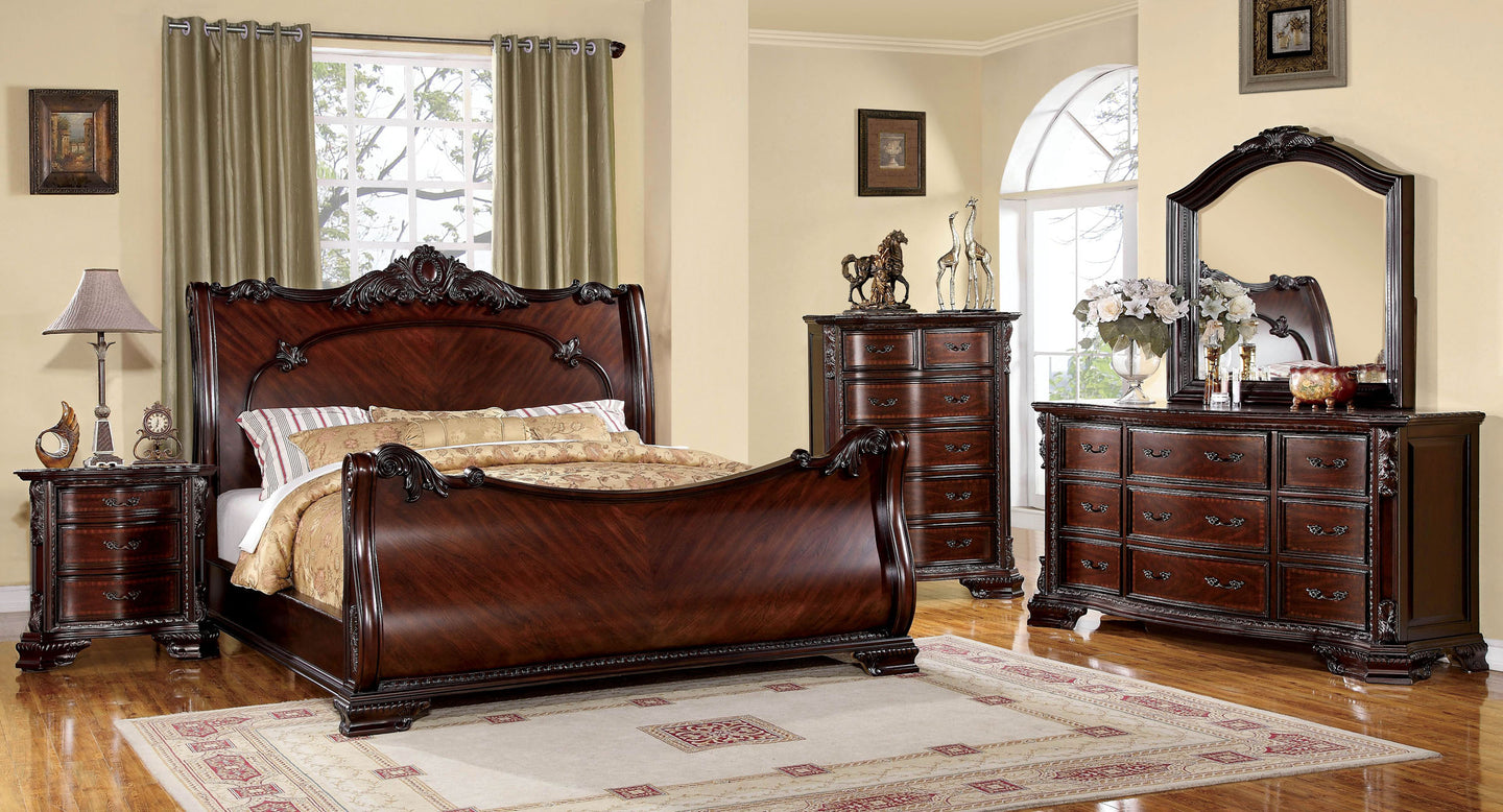 Bellefonte CM7277EK Traditional Brown Cherry King Sleigh Bedroom Set