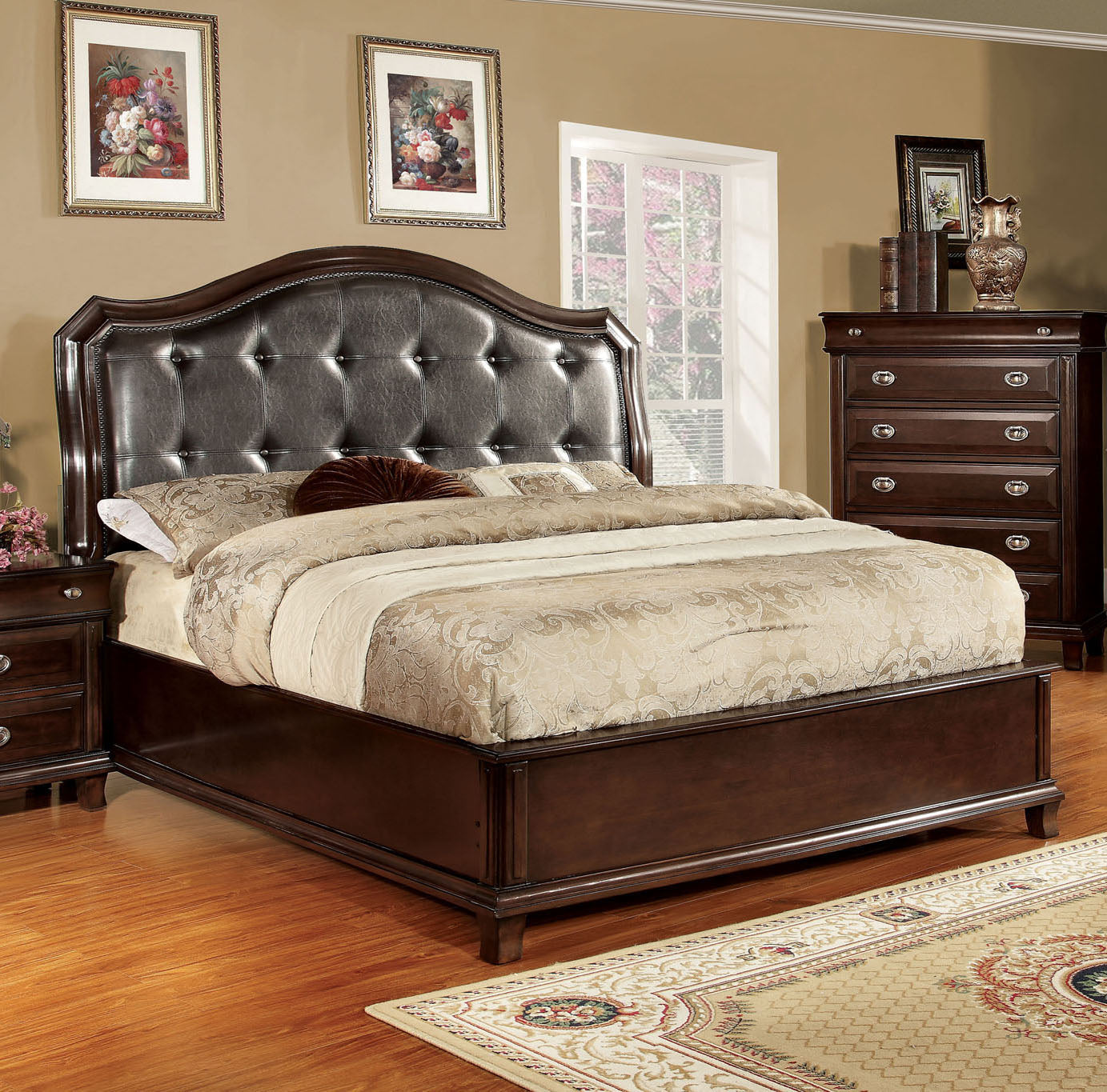 Arden CM7065EK Brown Cherry Leatherette Headboard Eastern King Bed
