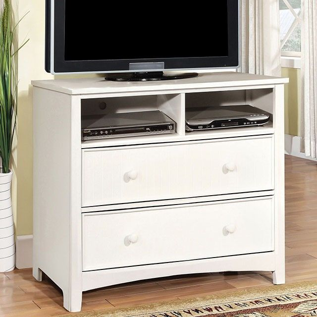 Furniture of America CM7905WH-TV Omnus Transitional White Media Chest