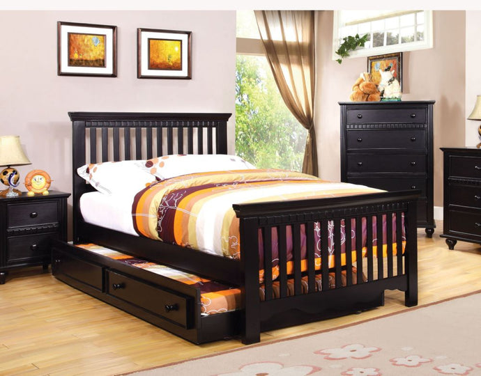 CM7920BK-F Caspian Transitional Kids Black Trundle Full Bed