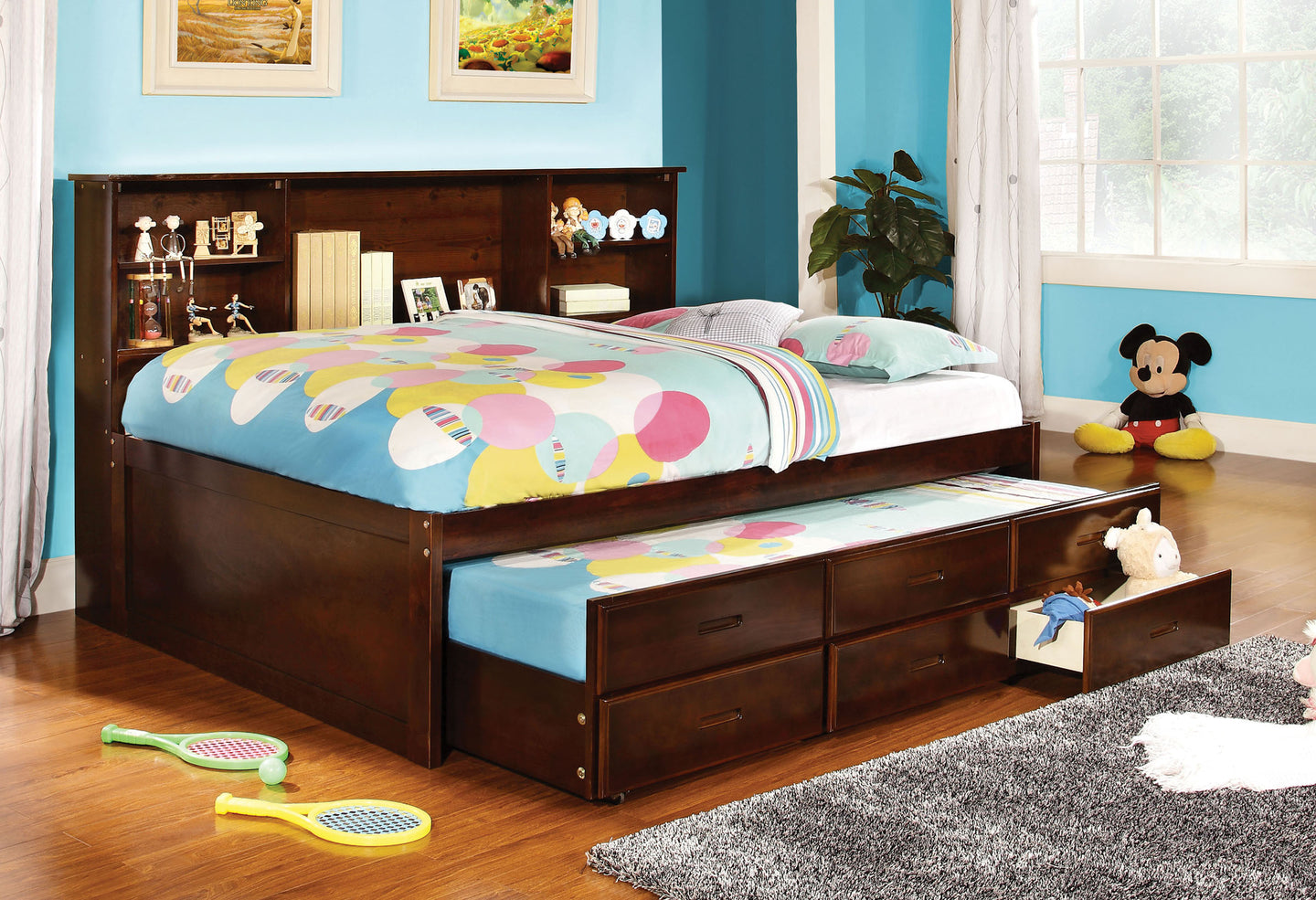 Hervey CM7583CH-F Espresso Captain Full Bed with 3 Drawers Trundle