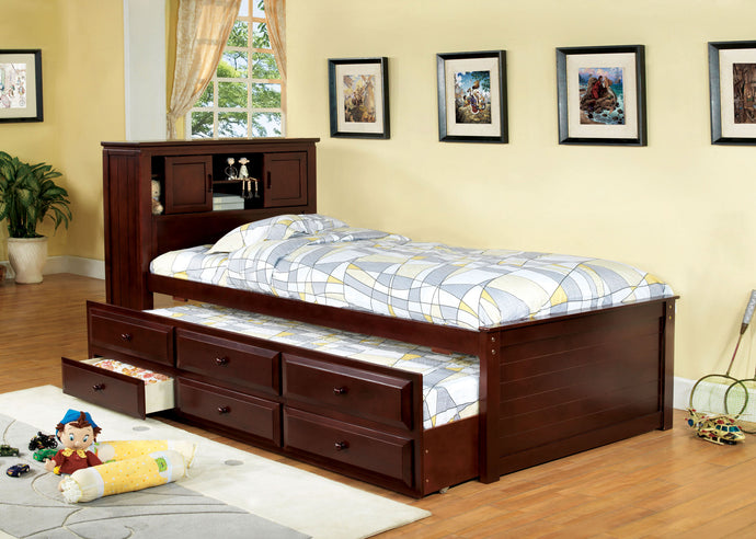 South land CM7763CH Cherry Captain Twin Bed with 3 Drawers Trundle
