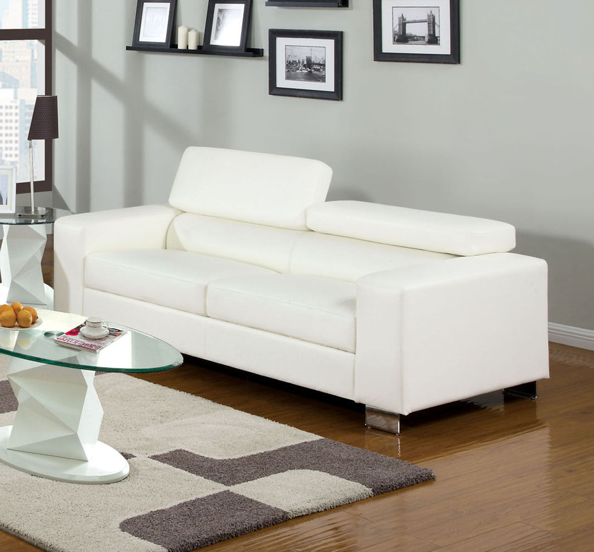 Furniture of America CM6336WH-S Makri White Bonded Leather Sofa Couch
