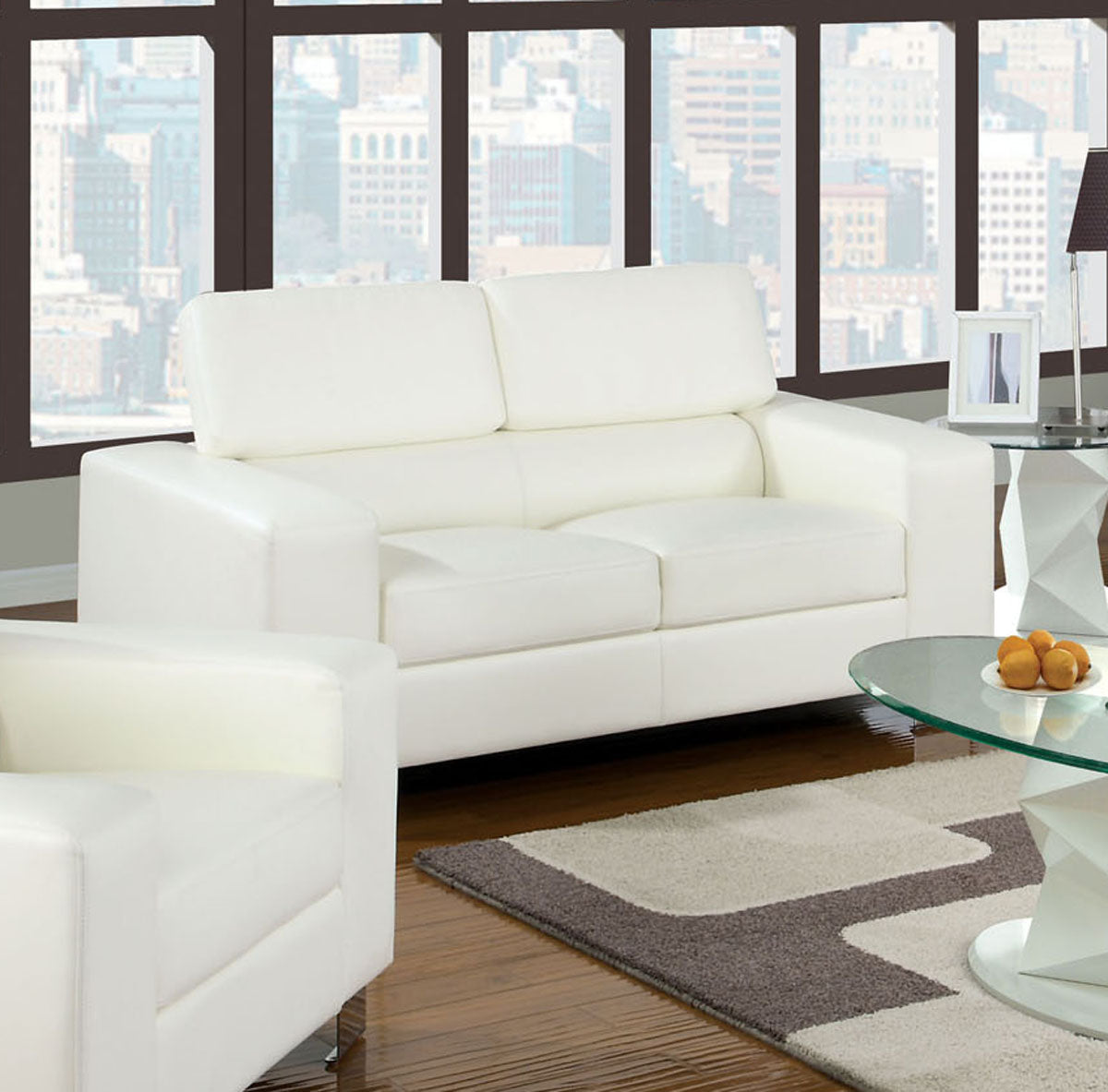 Furniture of America CM6336WH-L Makri White Bonded Leather Loveseat