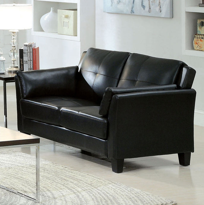 Furniture of America Pierre Contemporary Black Leatherette Loveseat