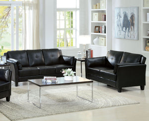 Furniture of America Pierre 2 Piece Black Leatherette Sofa Loveseat Set