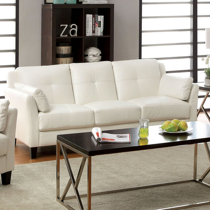 Furniture of America Pierre Contemporary White Leatherette Sofa Couch