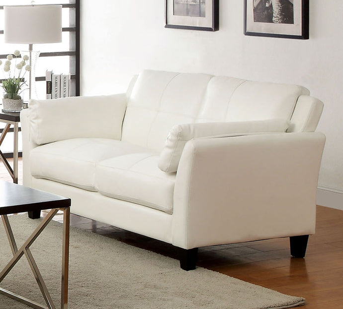 Furniture of America Pierre Contemporary White Leatherette Loveseat