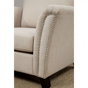 Campbell CM6095IV-SF Contemporary Style Ivory Fabric Sofa Couch