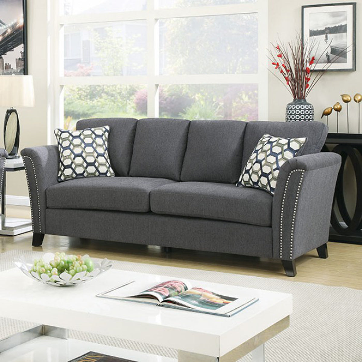 Campbell CM6095GY-SF Contemporary Style Gray Fabric Sofa Couch