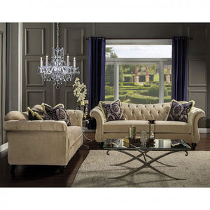 Antoinette SM2224 Light Mocha Premium Velvet Fabric Sofa Loveseat Set