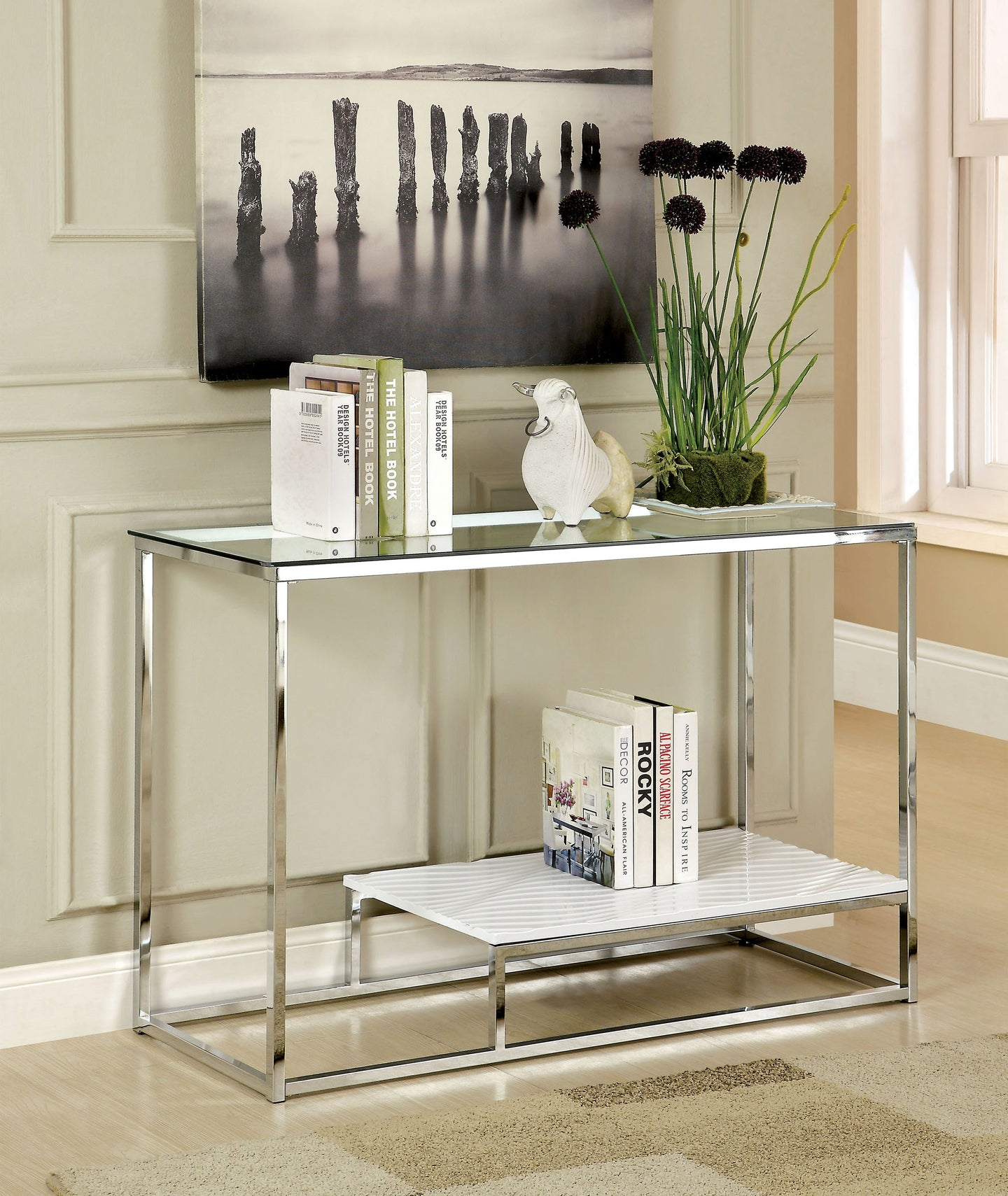 Furniture of America CM4231WH-S Vendi Contemporary White Sofa Table