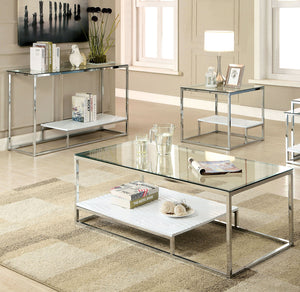 Furniture of America Vendi 3 Piece Contemporary White Coffee Table Set