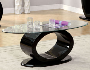 Furniture of America CM4825BK-C Lodia Black Glass Top Coffee Table