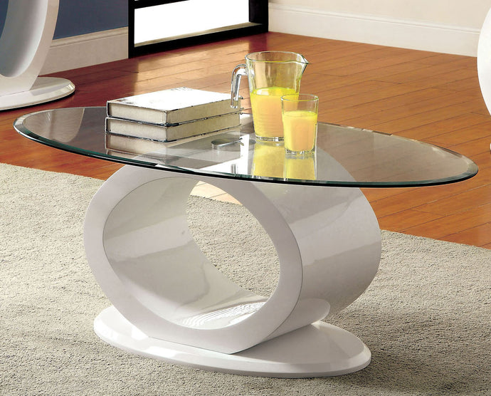 Furniture of America CM4825WH-C Lodia White Glass Top Coffee Table