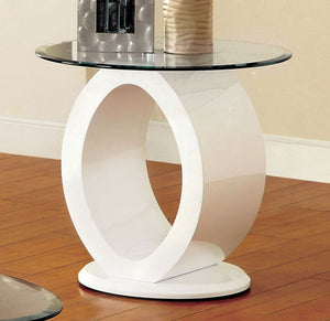 Furniture of America CM4825WH-E Lodia White Glass Top End Table