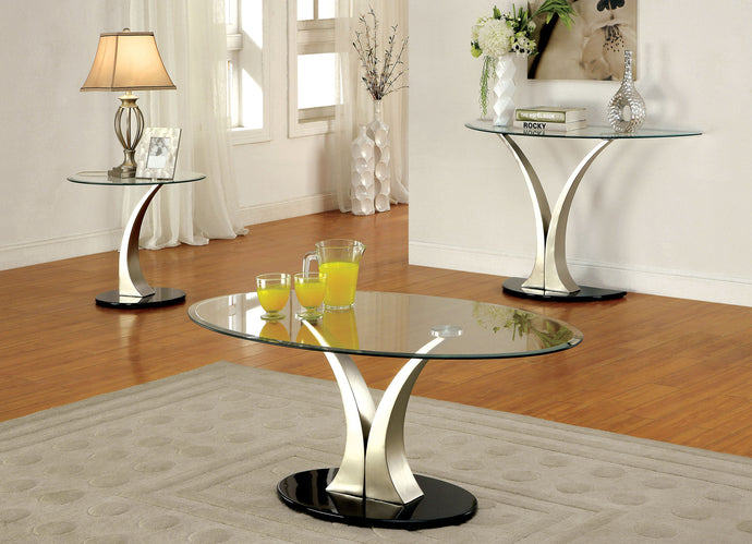 Furniture of America Valo 3 Pieces Tempered Glass Coffee Table Set