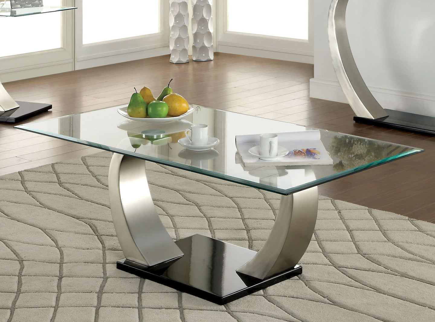 Furniture of America CM4728C Roxo Tempered Glass Coffee Table