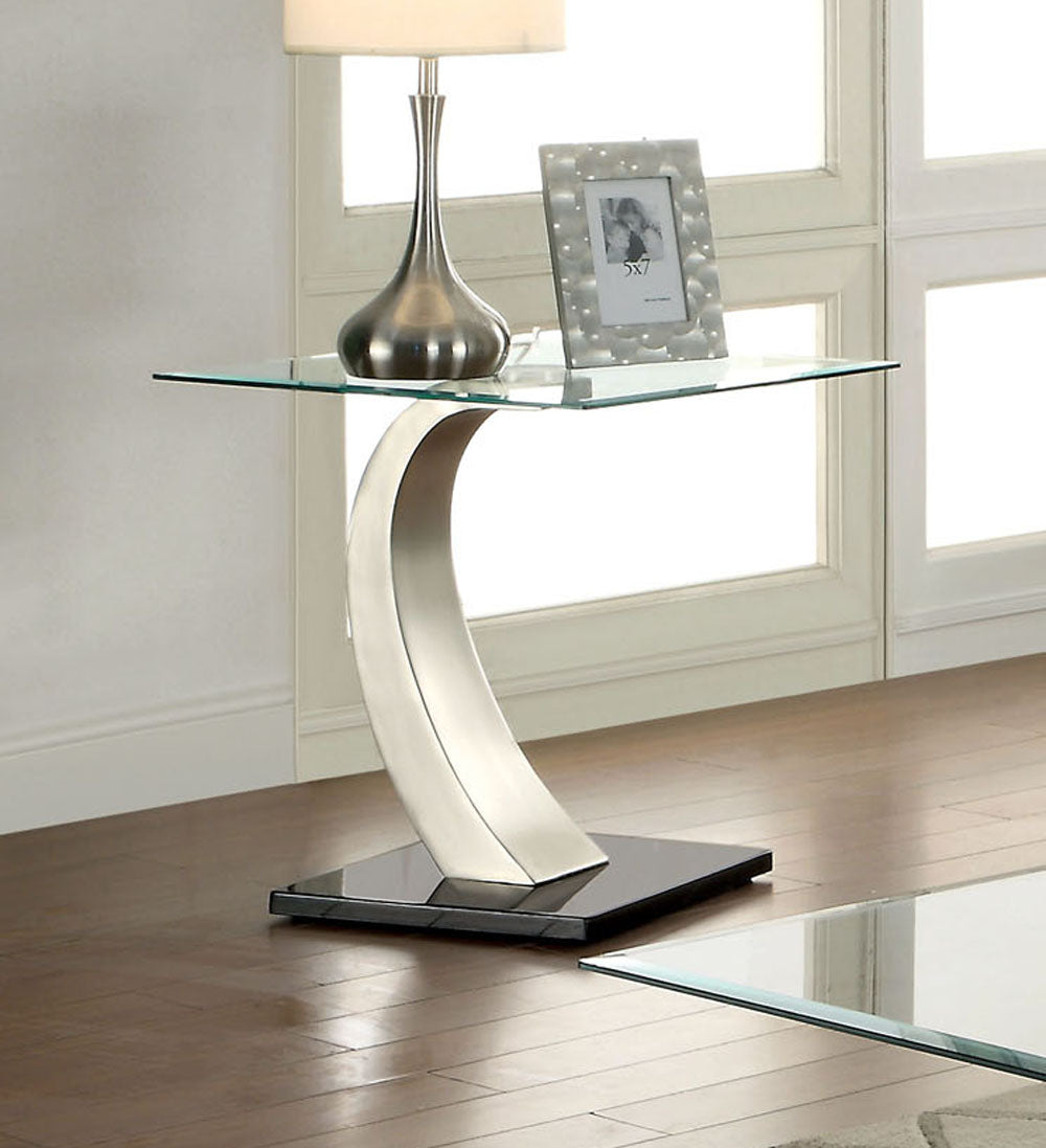 Furniture of America CM4728E Roxo Tempered Glass End Table