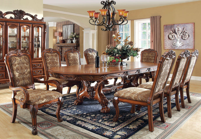 Furniture of America CM3557T Medieve 9PC Antique Oak Dining Table Set