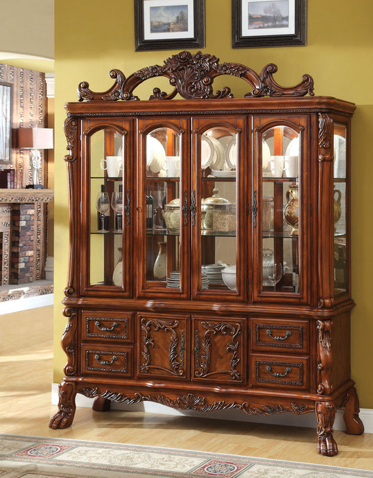 Furniture of America CM3557HB Medieve Antique Oak Finish Hutch Buffet