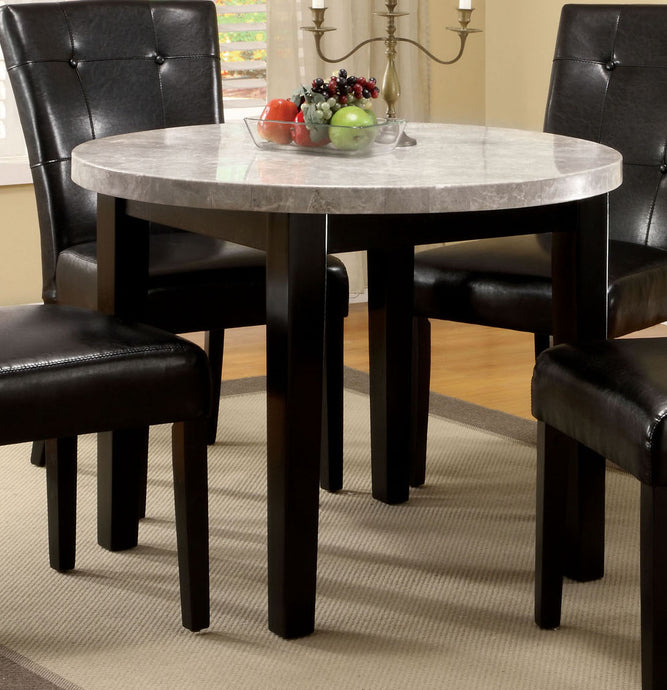 Marion I CM3866RT 40 Inch Espresso Marble Top Round Dining Table