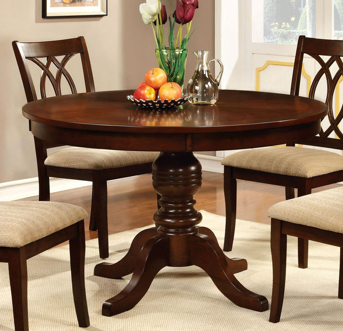 Furniture of America CM3778RT Carlisle Brown Cherry Round Dining Table
