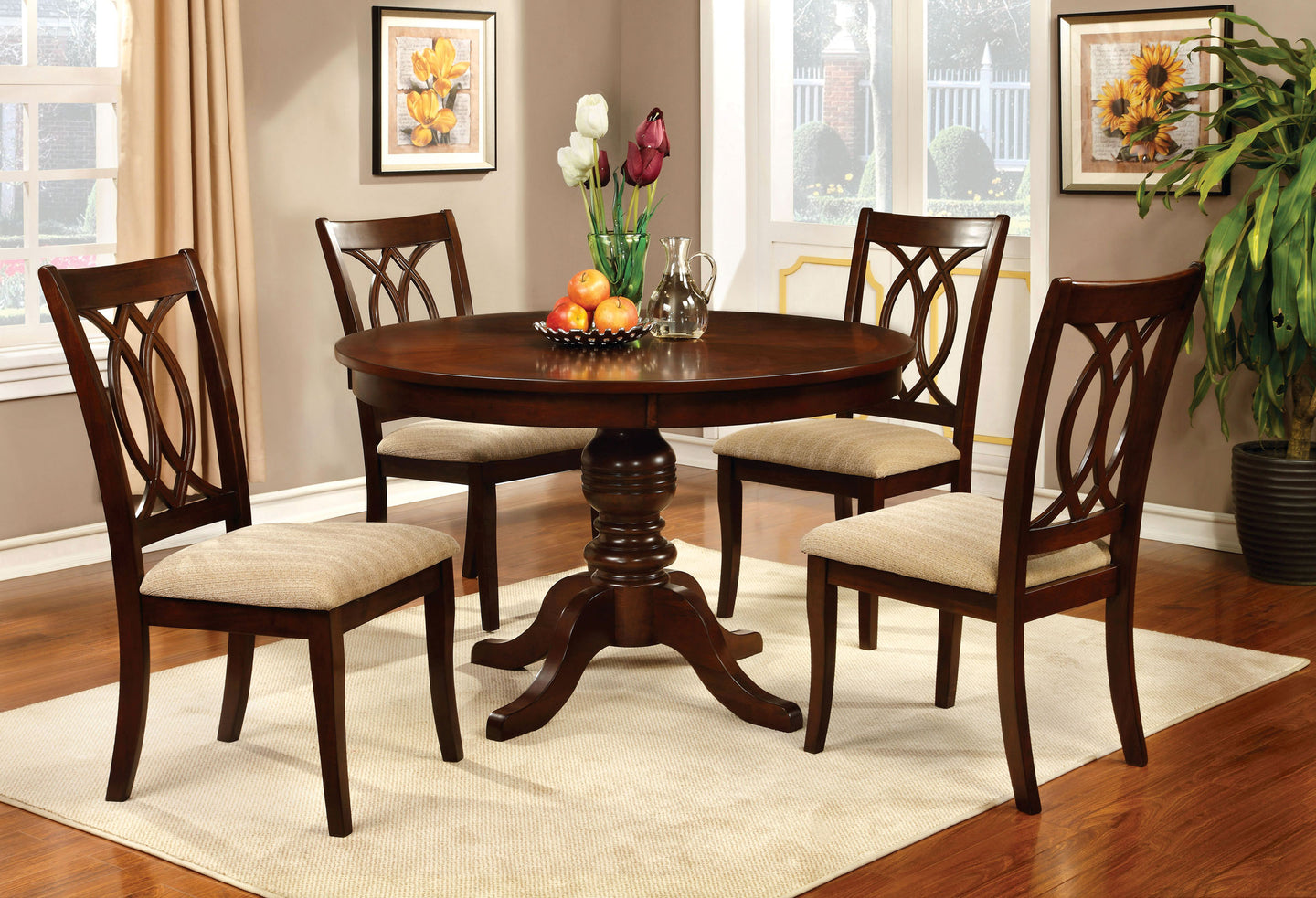 Carlisle CM3778RT 5 Pieces Transitional Brown Cherry Round Dining Set
