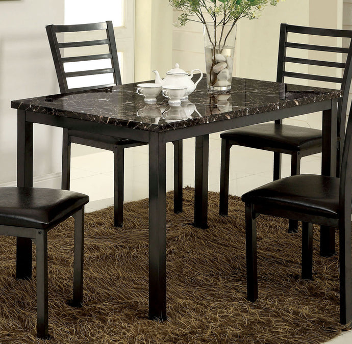 CM3615T-48 Colman Black Faux Marble Top 48 Inch Dining Table