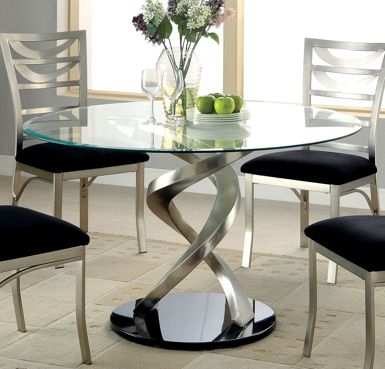 Furniture of America CM3729T Roxo Tempered Glass Top Dining Table