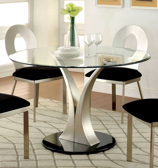 Furniture of America CM3727T Valo Tempered Glass Top Dining Table