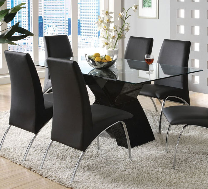 Wailoa CM8370BK-T Contemporary Tempered Glass Top Black Dining Table