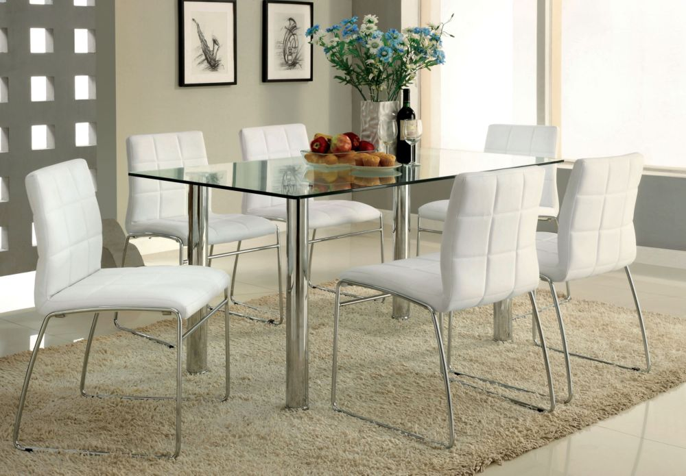 Furniture of America CM8319T Kona I 7 Pieces White Dining Table Set