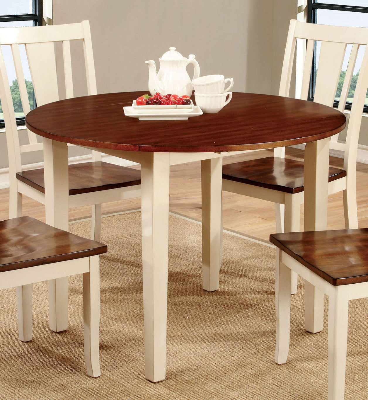 Furniture of America CM3326WC-RT Dover White Cherry Round Dining Table