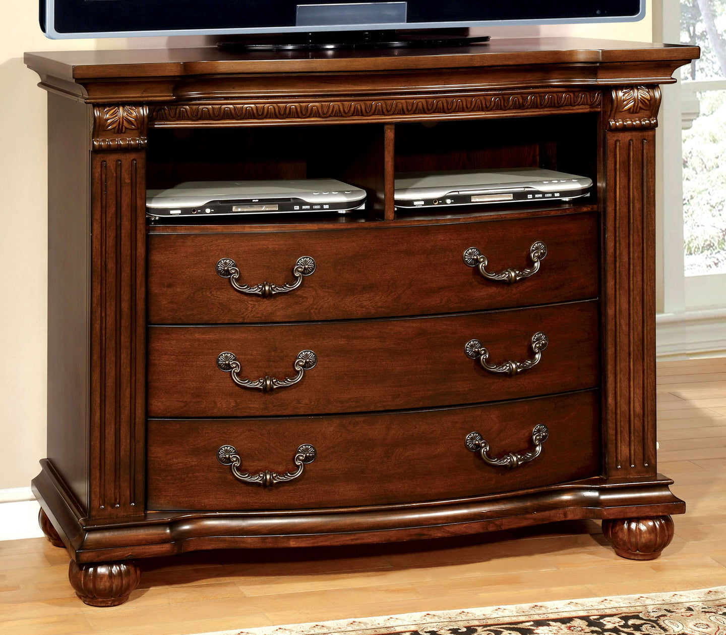 Grandom CM7736TV Traditional Cherry Solid Wood Media Chest