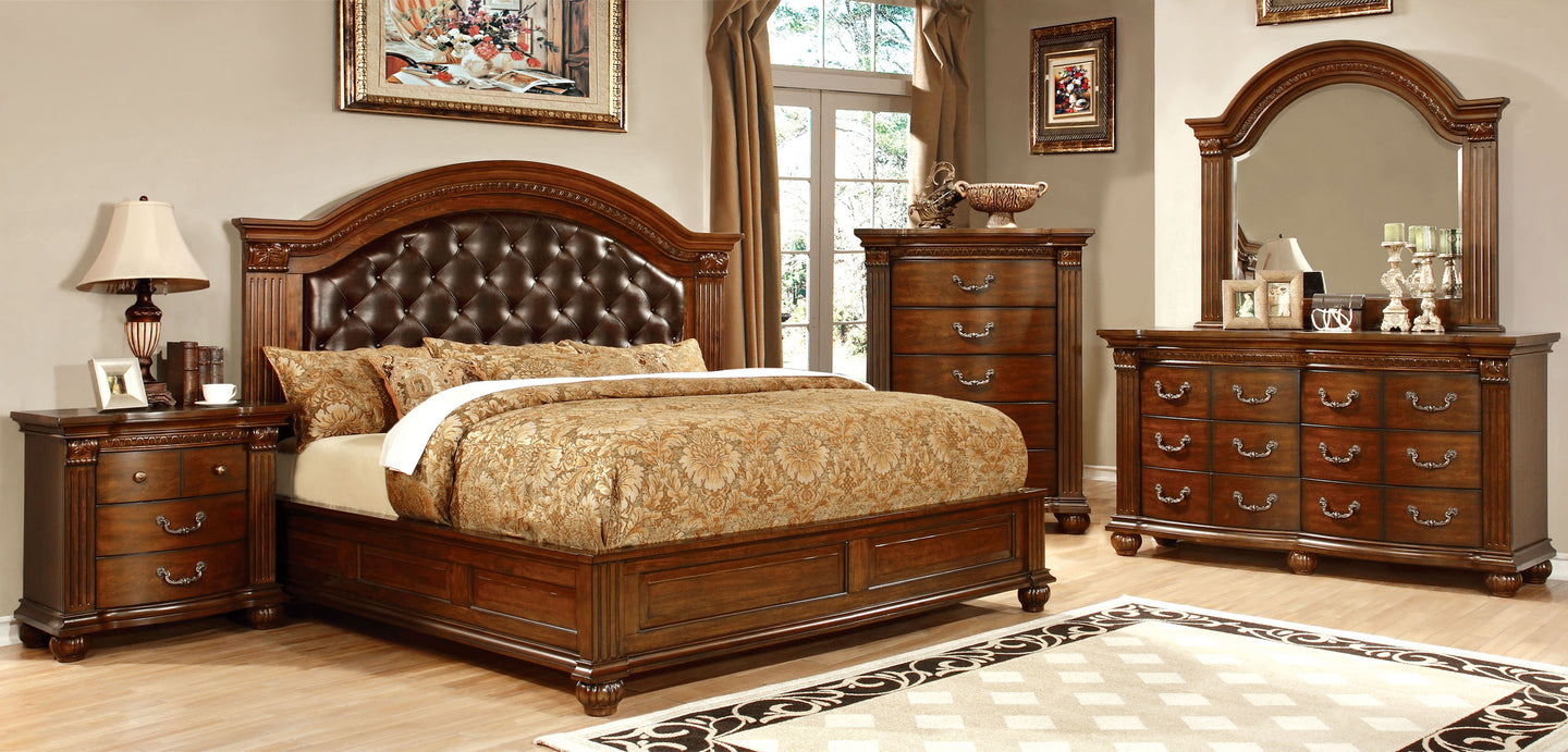 Grandom CM7735EK Traditional Cherry Leatherette King Bedroom Set