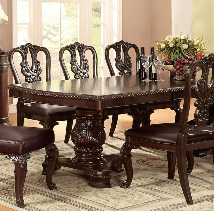 Bellagio CM3319T Traditional Brown Cherry Finish Formal Dining Table