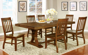 Furniture Of America Foster Dark Oak Wood Finish 7 Piece Dining Table Set