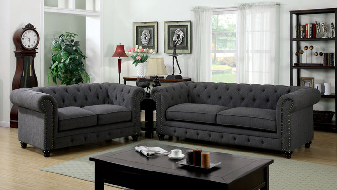 Furniture of America CM6269GY Stanford 2 Pieces Gray Fabric Sofa Set