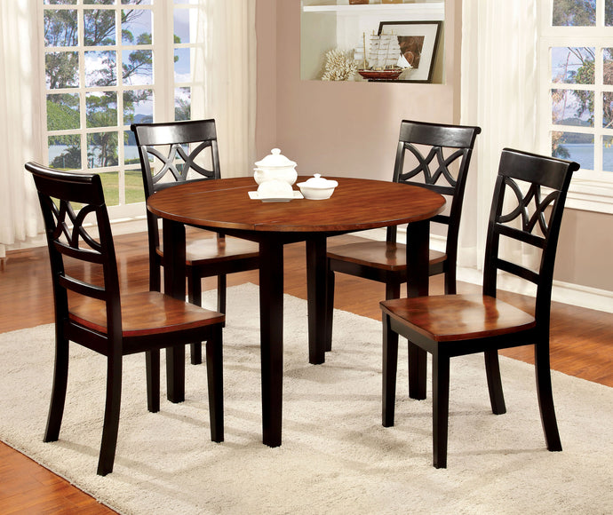 5 Pieces Transitional Black Cherry Round Table Set