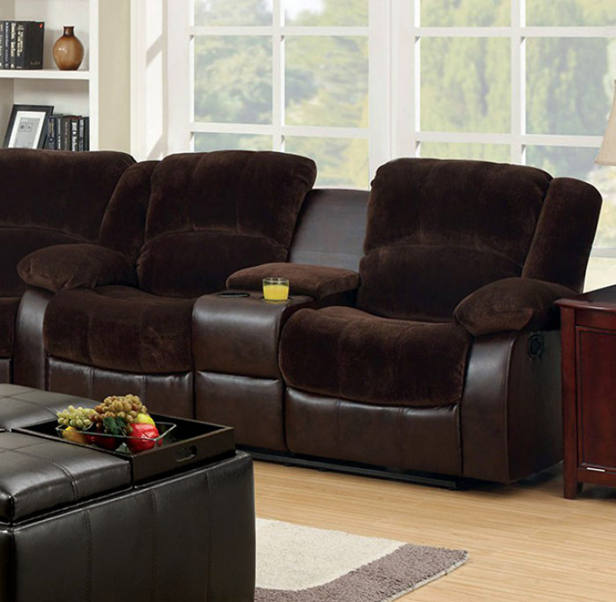 Winchester CM6556CP-L-CT Brown Leatherette Loveseat With Console