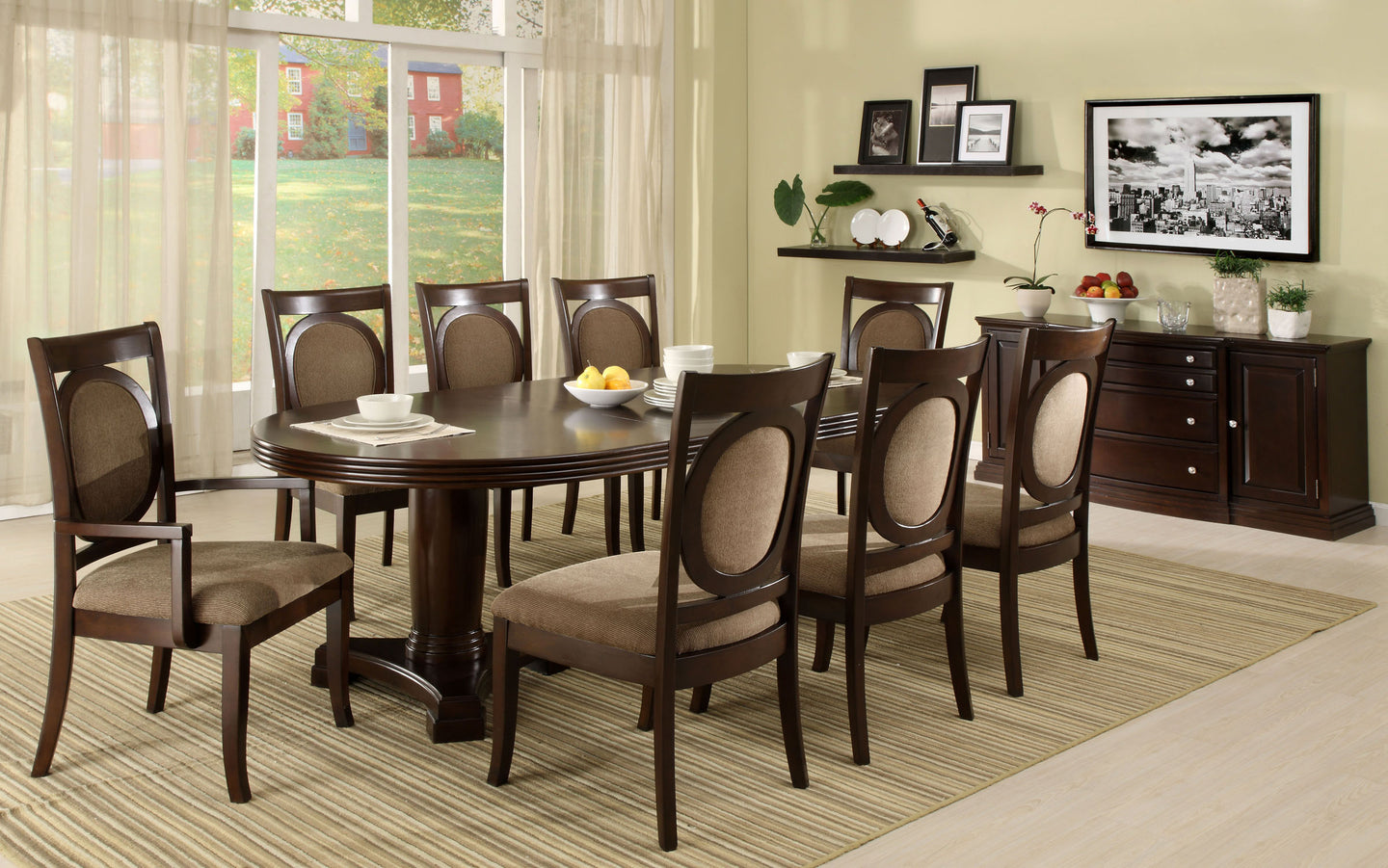 Evelyn CM3418T 10 Pieces Transitional Walnut Finish Dining Table Set