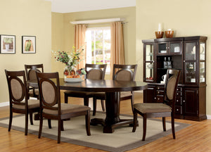 Furniture of America Evelyn Transitional 8 Piece Walnut Dining Table Set