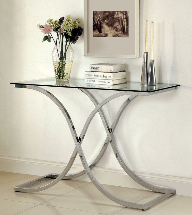 Luxa CM4233S-PK Contemporary Chrome Mirror Top Sofa Table
