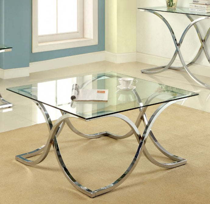 Luxa CM4233C-PK Contemporary Chrome Mirror Top Coffee Table