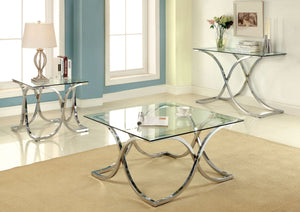 Luxa CM4233 3 Pieces Contemporary Chrome Mirror Top Coffee Table Set