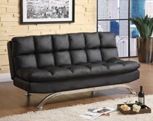Load image into Gallery viewer, Aristo 2 PCS Contemporary Black Leatherette Futon Sofa and Chaise Set