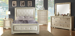 Furniture Of America Loraine Silver Leather And Wood Finish 4 Piece Eastern King Bedroom Set